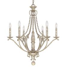 251 first evelyn silver quartz six light chandelier with wood bead