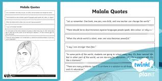 Malala Quotes Inspiration Malala Quotes Worksheet Activity Sheet People Of Faith