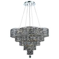 14 light chrome chandelier with silver shade grey crystal