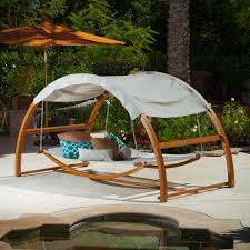 full size of patio outdoor hanging beds wooden framed canopy swing frame metal chains on