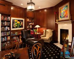 Fascinating Study Room Decor Ideas With Corner Fireplace Applied  Traditional Furniture And Wooden Bookcase Country Home