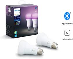 Philips True Light Philips Hue White And Color Ambiance 2 Pack A19 Led Smart Bulb Bluetooth Zigbee Compatible Hue Hub Optional Works With Alexa Google Assistant