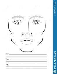 Man Face Chart Makeup Artist Blank Template Stock Vector