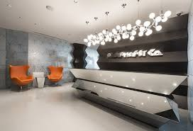 latest office design. Latest Chairs Decoration For Office Design With Modern Pendant Light Above Reception Desk And Wall Panels Ideas Also Using Best Floor Tiles