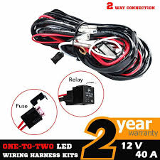heavy duty wiring suitable for hid halogen light and led light bars 2 way universal wiring loom harness light bar push switch kits 12v details about 2 way