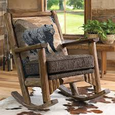 rustic wooden rocking chairs. Simple Wooden Black Bear Log Rocking Chair For Rustic Wooden Chairs