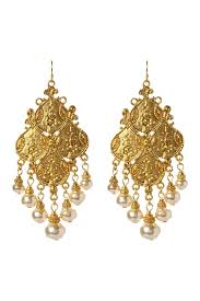 image of ben amun gold tone byzantine chandelier earrings