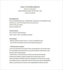 board of directors minutes of meeting template 29 images of board meeting template infovia net