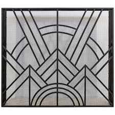 Image Mica Neo Art Deco Wrought Iron Metal Fireplace Screen For Sale 1stdibs Neo Art Deco Wrought Iron Metal Fireplace Screen At 1stdibs