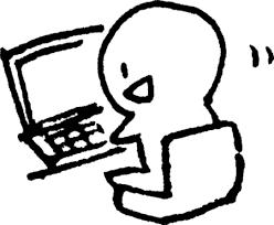 パソコン中 かわいいゆるい無料イラストてがきですのβ