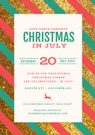 christmas dinner poster christmas in july template with red green stripes on glitter