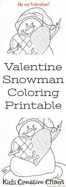 Free Valentines Coloring Page Printable Snowman