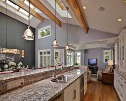 image kitchen design lighting ideas. Half Vaulted Ceiling Modern Kitchen Design With Marble Countertop And Hanging Lamp Lighting Ideas Grey Wall Interior Color Image W