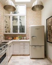 white fridge in kitchen. kitchen : endearing design ideas of retro style with white wooden cabinets and drawers also stainless steel handles marble countertop fridge in h