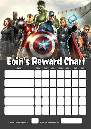 Personalised Avengers Reward Chart Adding Photo Option Available
