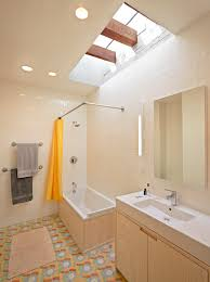 inspired l shaped shower curtain rod in bathroom eclectic with curtain rod next to towel bar placement alongside bathroom white subway tile and narrow sink