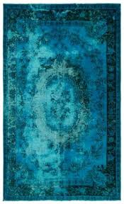 Overdyed Turquoise Rug Carved X Ft Cm Unique Store Area
