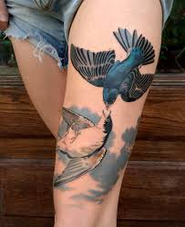 Neo Traditional Tattoo With Bird And Leg Tattoo