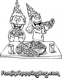 Small Picture Kids In Hats Eating Pizza Birthday Coloring Pages Free