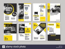 Leaflet Design Portfolio Set Of Yellow Cover And Layout Brochure Flyer Poster