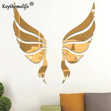 angel wings mirror acrylic dimensional decorative stickers background wall a parlane angel wings