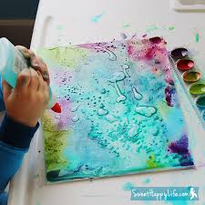 Painting with Watercolors, Glue and Salt at Sweet Happy Life via  lilblueboo.com