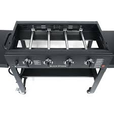 cooking station 4 burner flat top propane gas griddle with side shelves blackstone cook