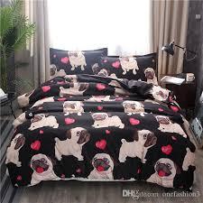 black pug printed bedding sets heart dog duvet cover set 2 bed set double queen quilt cover bed linen no sheet no filling queen comforter sets nursery