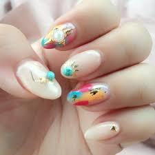 春夏ハンドベージュカラフル Mikiのネイルデザインno4102214