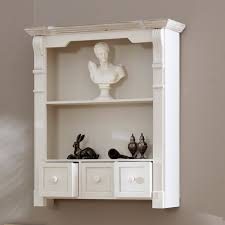 antique white shelf unit with drawers