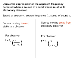 derive the expression for the appa frequency detected when a source of sound waves relative to