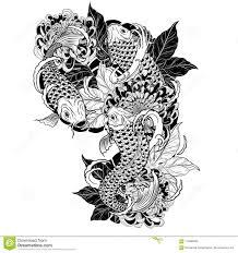 рыбы карпа и татуировка хризантемы вручную рисуя иллюстрация вектора