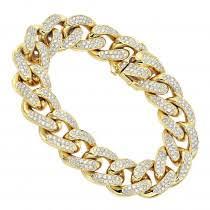 add to pare 14k gold miami cuban link chain diamond bracelet for men 11 05ct