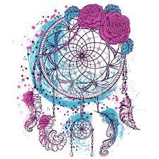 Obraz Lapač Snů S Ornamentem A Růží Tetování Barevné Ručně Kreslenými