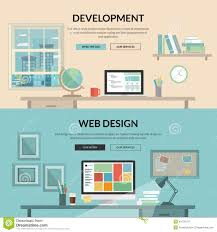 Web Design Flat Design Set Of Flat Design Concept For Web Development Stock