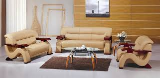 Contemporary Bonded Leather Sofa Set In Beige Color