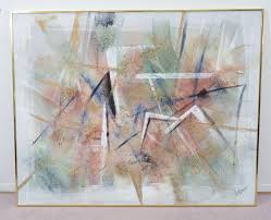 a vintage abstract painting composed of angled brush strokes in muted tones and in its original