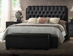 black leather tufted headboard queen for bedroom decoration ideas