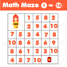 Maze Game Mathematics Labyrinth With Numbers Counting From