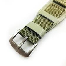 green leather nylon cuff watch band strap army military style steel buckle 6053