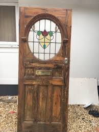 art deco stained glass front door 20s 30s wooden reclaimed old antique lead 1 of 1only 1 available