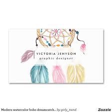 Dream Catcher Card Designs Modern Watercolor Boho Dreamcatcher Feathers Business Card