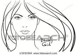 若い女性 顔 で ロング ブロンドの髪 クリップアート切り張りイラスト絵画集
