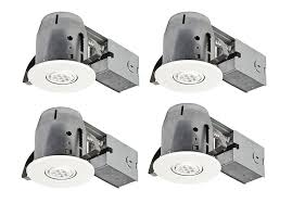 com globe electric 4 led ic rated swivel spotlight recessed lighting kit dimmable downlight 4 pack round trim white finish easy install