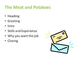 3 the meat and potatoes heading greeting intro skills and experience why you want the job closing greeting on a cover letter