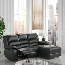 bonded leather loveseat recliner right facing chaise with plush seating black