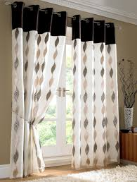 Bedroom Window Curtain Engaging White Door Fabric Curtain Feat Black Accents Top Pattern
