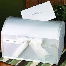 How To Decorate A Card Box For A Wedding Wedding Gift Card Box Treasure Chest White Satin 1