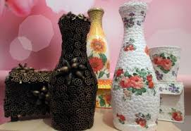 bottles of the original form can be turned into a chic home decor using one of the techniques or combining them with each other