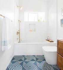 geometric blue bathroom floor tiles